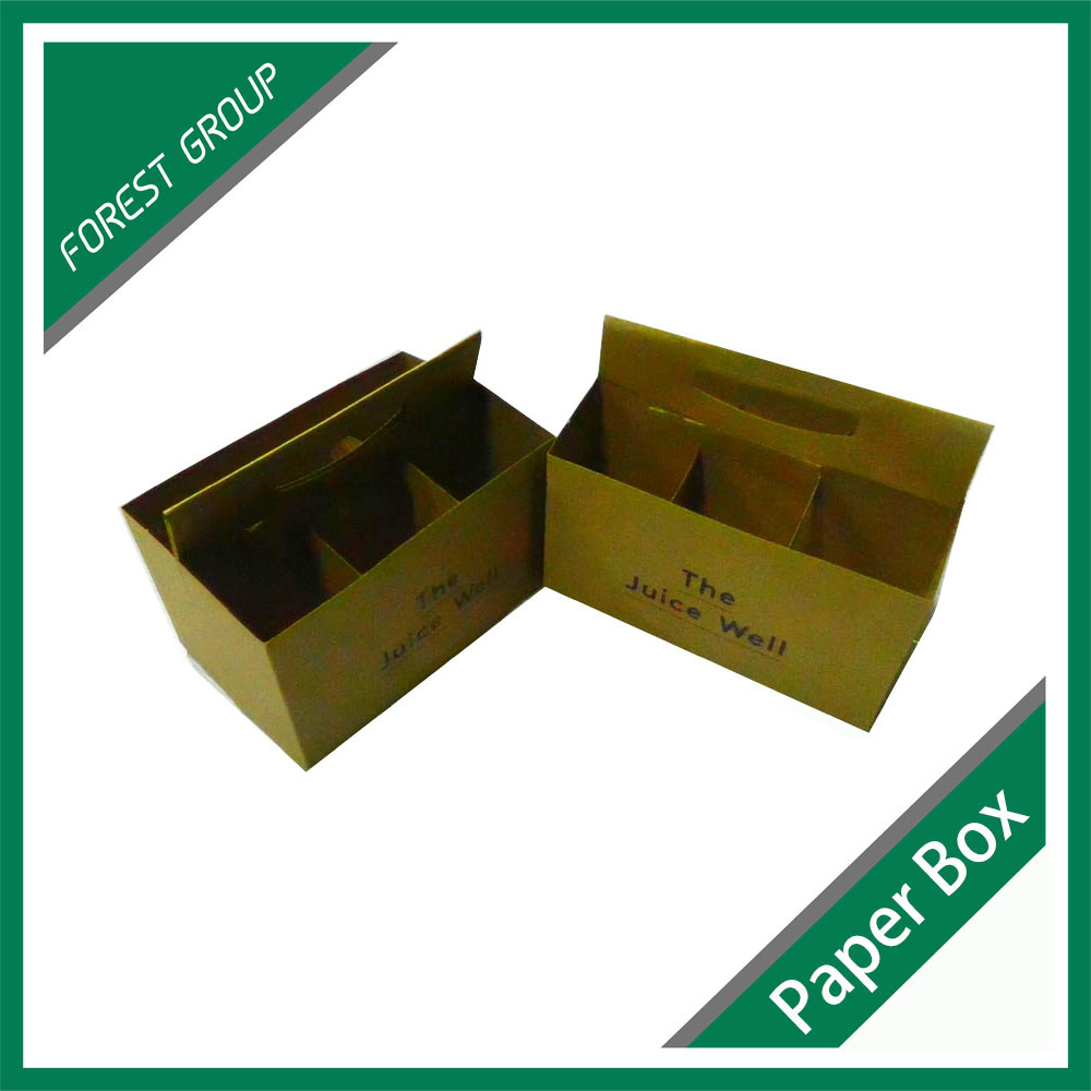 350gsm kraft paper 6 Pack Bottle Carrier Paper Cardboard Beer Wine Bottle holder Carrier with handle