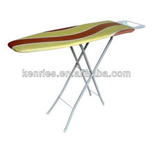 4-level folding Wooden Top ironing board 100% cotton fabric with iron rest