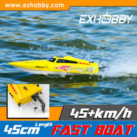 Rc model high speed outdoor pool plastic length 17.71 in yellow black small jet ski boat 797-1