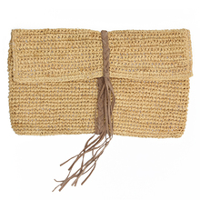 Straw raffia clutch bag with leather trim