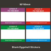 Hot Design Blank Eggshell Vinyl Writable Stickers Customized,Strong Glue Glassine Release Destructible Paper Label