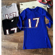 KS41025G 2016 hot selling long sleeve letter printing kids sports dress