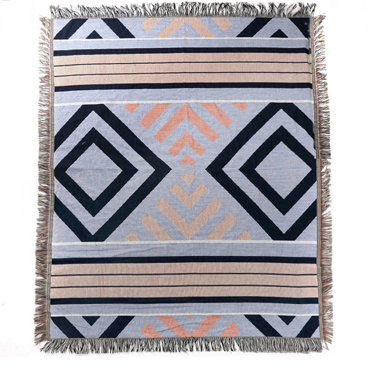 China Supplier Superb Soft Jacquard Yarn Dyed Polyester And Cotton Throw Blanket Around Fringe