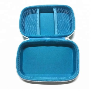 Light blue hard shell waterproof custom made EVA cosmetic bag and case