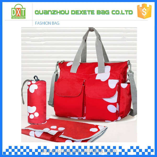 High capacity polyester red diaper baby travel bag