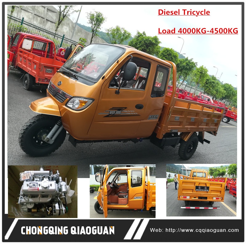 Powerful 3 Cylinders 30HP 4 Tons Diesel Engine Cargo Three Wheel Tricycle for Sale