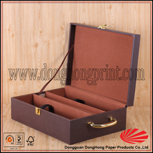 Various luxury PU leather wooden wine presentation boxes with handle