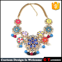 New Arrival Multi Color Crystal Resin Flower Necklace With Coloful Ball Pendant Gold chain Necklace