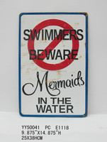 warning words metal embossed tin sign, metal wall sign