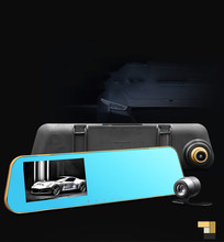 New 1080p hd car cam dual lens car rearview mirror 1080P high-definition wide-angle night vision driving recorder 4.3 inch MK210