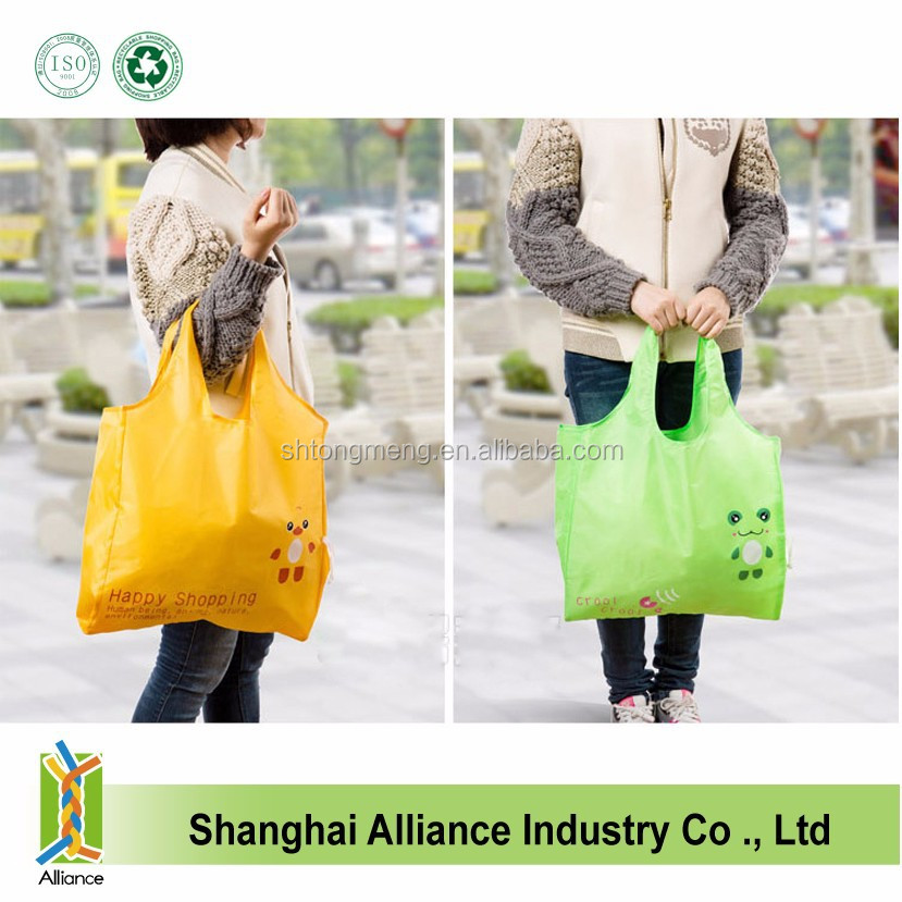 Cute Eco Reusable Nylon folding Foldable Shopping Bag