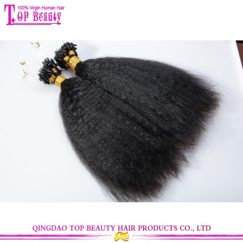Top quality kinky straight hair extension 100% unprocessed human virgin brazilian micro ring loop hair extensions