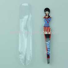 Blue Dressing Girls Shape Personalized Slanted Tweezer