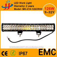Super bright CE ROHS IP67 40000 hours lifetime 126w led light bar auto lighting led working light 12v