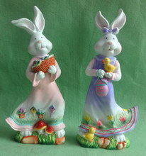 Polyresin Easter Bunny Statue Figurine for Easter Decoration