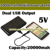 5V Dual usb port Mobile power bank with 20000mah,Out 5V 1000mA&2000mA, power LED indicate