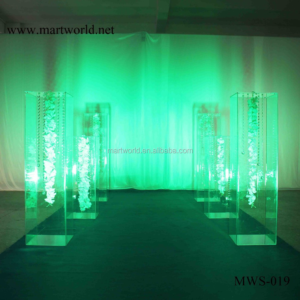 31 inch height square pillar design transparent acrylic pillar party and wedding decoration flower stand(MWS-019)