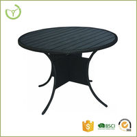 PE rattan + wood + aluminum outdoor garden table