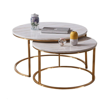 Rose Gold Metal Base Round Natural Mrable Top Coffee Table Set