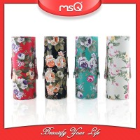 MSQ fashion flower print empty cylinder case for 12pcs makeup brushes