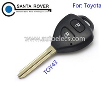 High Quality Toyota Rav4 Corolla Hilux Remote Key Case Shell 2 Button Toy43 Blade