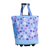 2018 portable handle big capacity shopping trolley bag with wheels