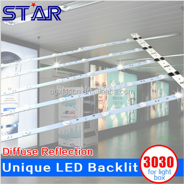 Hot sell 3030 LED Bar Rigid Strip Diffuse Reflection Backlight Light for Outdoor Large Advertising Light Box Slim Lightbox Sign