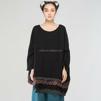 Jiqiuguer Autumn original ethnic Big Round neck collection of ladies' T - Mosaic floral shirt with long sleeves T - shirt