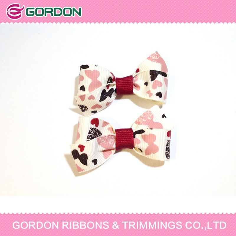 printed grosgrain bows for baby hair accessories ,girl hair clip,hair band