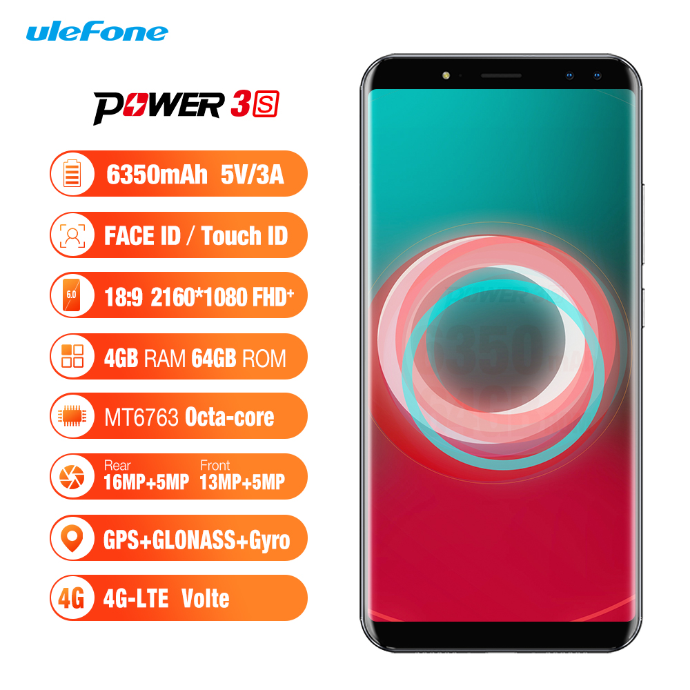 "Ulefone Power 3S 6.0""18:9 Full Screen Smartphone Android 7.1 MTK6763 Octa Core 6380mAh 4GB 64GB Face ID Four Camera Cell <strong>Phone</strong>"