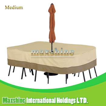 Veranda Rect / Oval Patio Table & Chair Set Cover With Umbrella Hole , Medium Furniture Cover