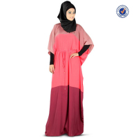 2015 half sleeves three color patchwork soft crepe muslim ladies dresses fashion