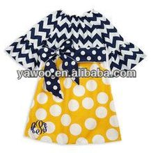 2014Top Quality Little Girls Princess Dress For Kids Baby Girls Lotus leaf sleeve Chevron Dress With Polka Dots Girl's Dresses