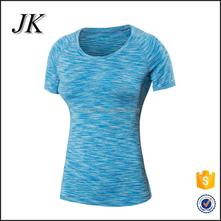China OEM Women Athletic Tight Fit Raglan Short Sleeve Spandex T Shirt for Fitness