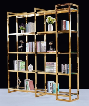 Hot sale modern simple design metal glass bookshelf furniture with glass top