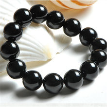 6-16mm natural black agate high quality black round onyx bracelets for men women