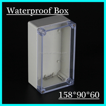 New 1 piece IP65 waterproof plastic material enclosure/box for electronic/for PCB with transparent 158*90*60mm