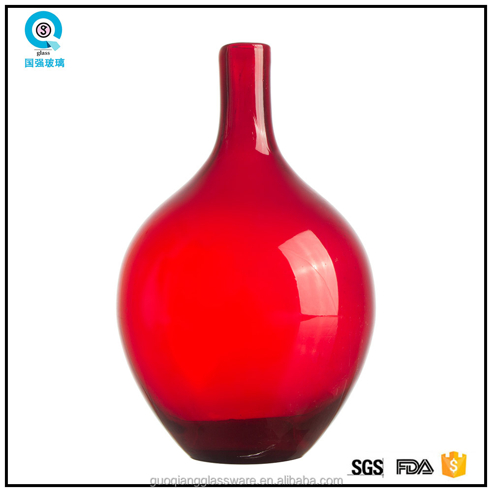 Red color handmade decorative vase like stone for home