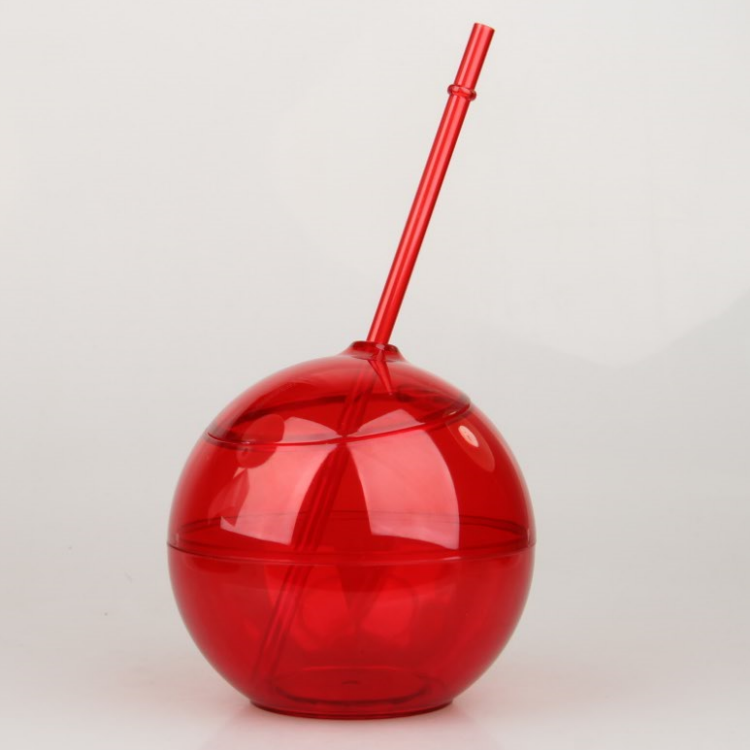 12oz reusable ball shaped plastic cup with straw and lid