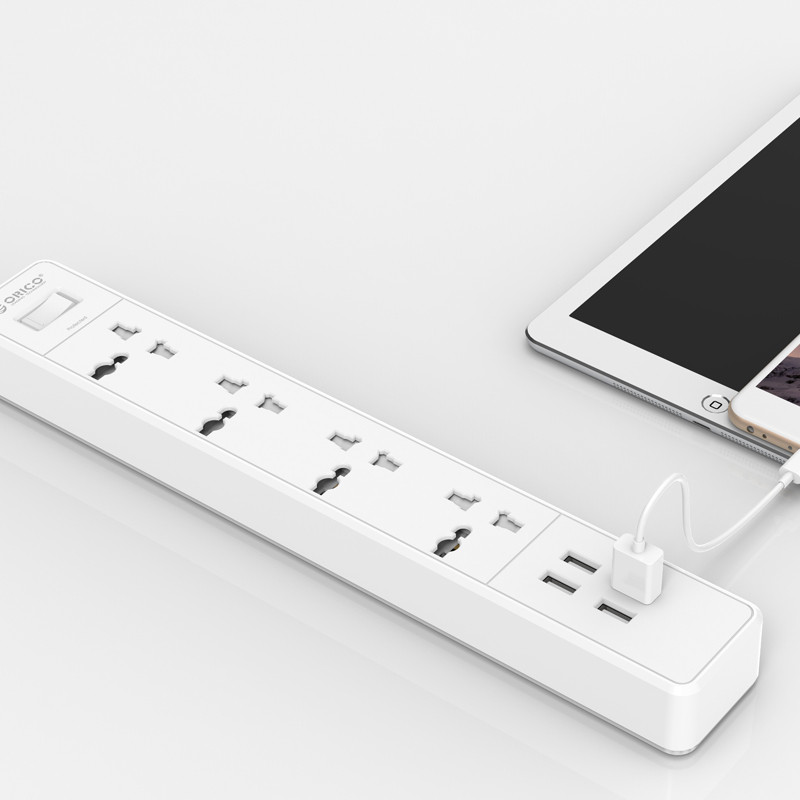 ORICO OSC-4A4U universal travel power strip 4 outlets 4 USB port charger surge protector