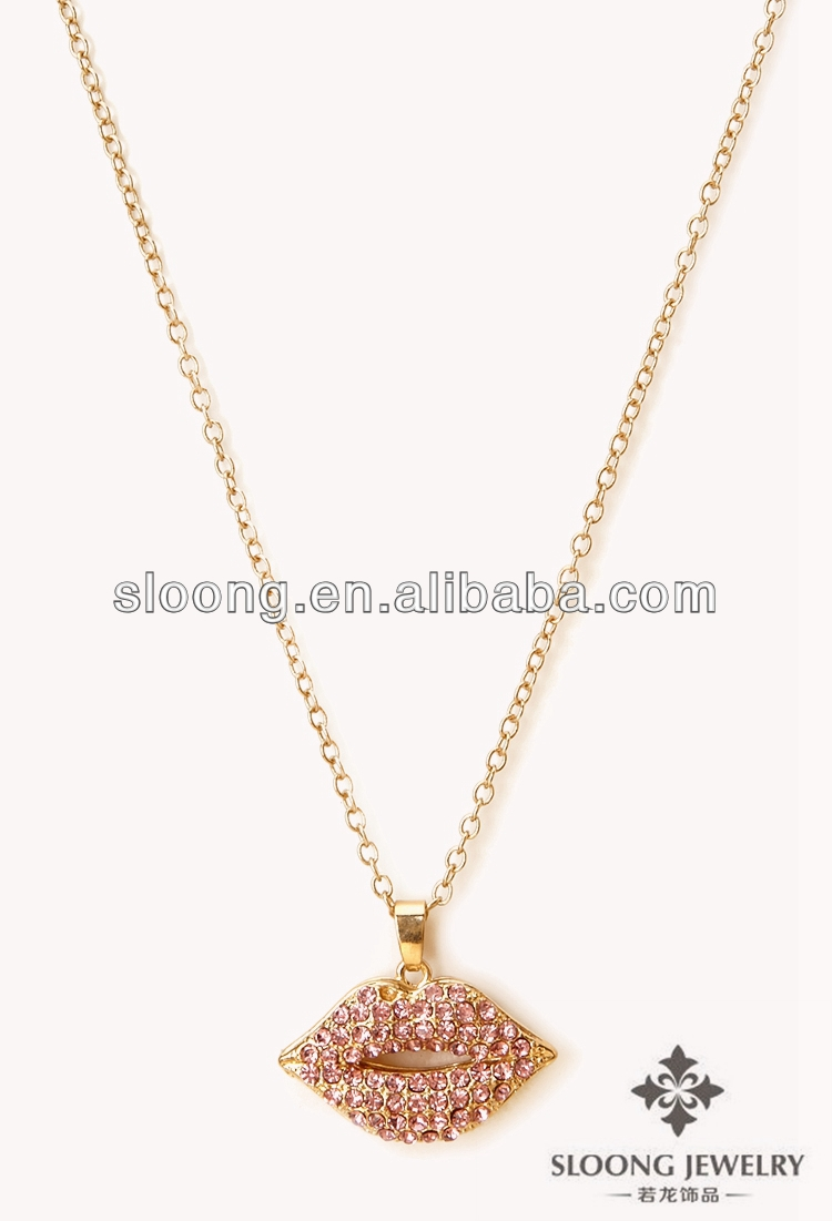 2013 gold necklace designs in 10 grams Sweet Lips Pendant Necklace