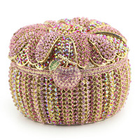 Luxury basket shaped pink handmade crystal and rhinestone evening bags