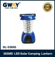 Rechargeable 36 led camping lantern with solar panel