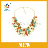 Free Shipping jewelry factory cheap Amber imitated beaded necklace