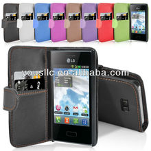 Wallet stand leather Mobile Phone case cover for LG E400 Optimus L3