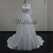 Latest Long Lace Sleeve Wedding Dresses V Neck Bridal Gown