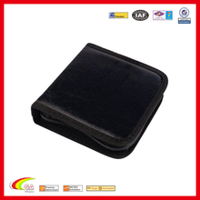Wholesale faux leather empty high capacity black cd case holder