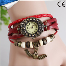 Hot Sale Women Ladies Girls Fashion Long Leather Strap Bracelet Watch Women Angel Wing Pendant Leather Retro Vintage Watch VW007