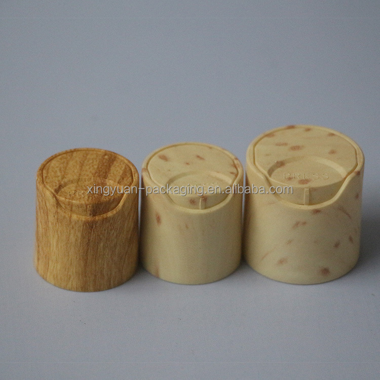 high quality 24mm wooden surface Plastic Lotion bottle flip cap