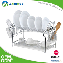 kitchen equipments stainless steel dish drying rack/plate organizer